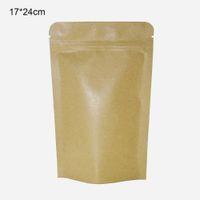 ingrosso sacchetto di carta marrone della chiusura lampo-50 pz / lotto 17 * 24 cm Brown Stand Up Sacchetto di Alluminio Confezione Sacchetti Con Tè Notch Mylar Foil Risigillabile Zip Lock Kraft Paper Storage Bags