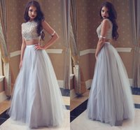 Wholesale modern college dress resale online - Silver Gray Tulle Long Prom Dresses Two Piece Sleeveless Full Length Top Lace Sexy College Homecoming Party Dress Evening Gowns