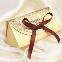 düğün hediye çantası kutuları toptan satış-Düğün Malzemeleri Şekeri Şeker Kutuları Parti Bebek Duş Hediye Ferrero Rocher Çikolata Kutusu Tatlı Hediyeler Çanta Malzemeleri