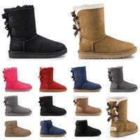 kürk ayakkabıları siyah kadınlar toptan satış-2020 tasarımcı avustralya kadınlar klasik kar botları kışın siyah gri kestane kırmızı moda bayan ayakkabı boyutu 36-41 için kısa yay kürk çizme ayak bileği