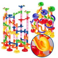 oyuncak labaratuvarı toptan satış-105 ADET DIY İnşaat Mermer Yarış Çalıştırmak Labirent Topları Boru Hattı Tipi Parça Yapı Taşları Bebek Eğitim Bloğu Oyuncak Çocuklar için