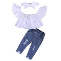 kısa kot çocukları toptan satış-Kız Rendelenmiş Kot Setleri çocuklar Giysi Tasarımcısı Kısa Kollu Katı Renk Delik Pantolon Tekne Boyun Setleri 49