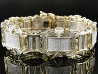 lastik bant bilezikler klipsler toptan satış-10K Mens Sarı Altın Temizle Diamonds ile XL 23 MM Bilezik Bileklik 5.18 CT