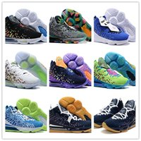 Wholesale youth basketball shoes green resale online - 2020 What The Lebrond XVII EP James LBJ17 Mens Youths Black Purple Green Basketball Shoes For High Quality James s Sports Sneakers