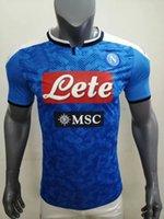 camisas de compressão apertada venda por atacado-Jogador de compressão versão apertada 2019 2020 Napoli Futebol Koulibaly MERTENS INSIGNE CALLEJON casa longe camisa 19 20 de futebol