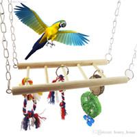 Wholesale cage cockatiel resale online - Wood Bird Parrot Swing Hanging Cage Toy Pet Cockatiel Budgie Bridge Hanging Hammock Toys Mayitr Pet Supplies