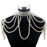 bisutería gruesa collares al por mayor-Florosy Cadena del grano largo Chunky simulado collar de perlas joyería del cuerpo para las mujeres traje gargantilla colgante collar llamativo nuevo J190711