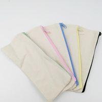 stift bleistift veranstalter großhandel-21x9cm DIY weißer Segeltuchfreier raum normaler Reißverschluss Bleistiftfeder sackt Briefpapierfallkupplungsorganisatorbeutel ein Geschenkspeicherbeutel