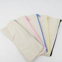 Wholesale case zippers for sale - Group buy 21x9cm DIY White canvas blank plain zipper Pencil pen bags stationery cases clutch organizer bag Gift storage pouch