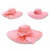 Wholesale floppy hats online - Women Bowknot Wide Brim Hat Folding Fashion  Summer Beach Garden Floppy 0ae96e4e37e