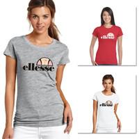camisa roja amarilla roja al por mayor-Ellesse para mujer de lujo de T camisas de algodón Negro Blanco Gris Rojo Amarillo Original manera de calidad superior de la camiseta de manga corta XS-3XL