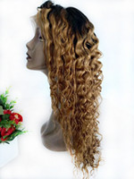 Wholesale cheap ombre braiding hair for sale - Colored Honey Blonde Ombre Human Hair Lace Front Wigs Peruvian Deep Wave Braided Wig Cheap T1B Curly Full Lace Wig For Black Women