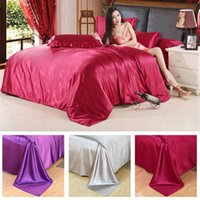 Wholesale cotton satin bedding sets for sale - HOT Pure Satin Silk Bedding Set Home Textile King Size Bed Set bedclothes duvet Cover Flat Sheet Pillowcases