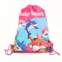 Wholesale designer cartoon fabric resale online - Baby Shark Backpacks Kids Cartoon Drawstring Bags Girls Boys Animal Theme Designer Non woven Fabric Bags Backpack Gifts GGA2568