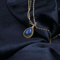 pingente de moonstone do labradorite venda por atacado-Luxo 925 Natural Labradorite Colar Pedra Pendant For Women Fine Jewelry Gemstone Grey Moonstone bijoux