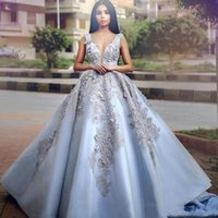 Wholesale sweet petals dress resale online - 2020 New Design Puffy Quinceanera Dresses Deep V Neck Lace D Appliques Beads Sleeveless Open Back Sweet Party Pageant Prom Evening Gowns