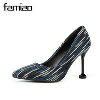 ingrosso scarpe con tacco scarpe blu-Designer Dress Shoes FAMIAO flock pumps mix colore Pompe Tacchi alti Sexy Party Dress Donna scarpe a punta Primavera Charming blue Footwear