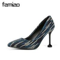 каблуках синий цвет оптовых-Дизайнерские туфли FAMIAO флок туфли смешанного цвета Туфли на высоком каблуке Сексуальное вечернее платье Женщина с острым носом Весна Очаровательная синяя обувь