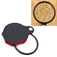 ingrosso strumenti pieghevoli-Mini lettura nero ingrandimento 50 millimetri 60 millimetri mano-Hold Magnifier Lens pieghevole tascabile ottico Strumento lente con coperchio di protezione corticale