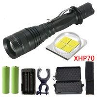 led-taschenlampen großhandel-CREE XLamp XHP70 32w 3200lm leistungsstarke taktische LED-Taschenlampe Zoomobjektiv 2x 18650 Akku Laterne