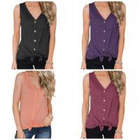 Wholesale seven t shirt online – design Sleeveless Cardigan T Shirt V Collar Bottoming Shirts Seven Colors Women Vest Summer Cool Home Clothing sj E1