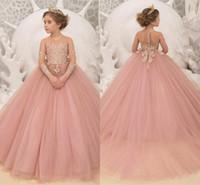 ingrosso abiti rosa abito rosa sfumato-Blush Pink Flower Girl Dresses For Wedding 2019 Ball Gown Compleanno Wedding Party Abiti da festa per Little Girl Illusion Neck Maniche lunghe