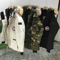 aşağı parka kanada kadınlar toptan satış-2019 Kış Sıcak Kanada Gevşek Tasarımcı Ceket BEKLENME PARKA erkek ve kadın Çift Kış Kaz tüyü Ceket Parkas