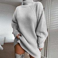 vestido de gola de gola venda por atacado-Gola alta camisola de manga longa vestido de mulher Outono Inverno frouxa túnica de malha roupa ocasional Cinzento Rosa Vestidos Sólidos