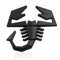 akrep çıkartmaları çıkartmaları toptan satış-10pcs / lot 3D Scorpion Araç Metal Yapışkan Badge Emblem Decal Sticker Fiat 500 Punto Bravo Stilo Panda Abarth 500 Logo Çıkartma için