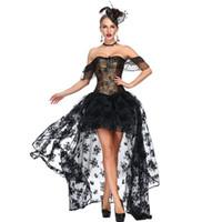 платье из викторианского черного золота оптовых-Черное золото цветочным узором Викторианский корсет платье готическая одежда стимпанк Korsett для женщин Sexy Vintage Бурлеск