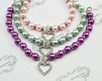 Wholesale rhinestone dog cat collar resale online - Dog pearls necklace collar rhinestones charm pendant Pet Puppy Cat jewelry