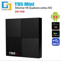4.4 android 4k tv kutusu toptan satış-T95 MİNİ Android 9.0 Smart TV BOX Allwinner H6 2GB 16GB Dört Çekirdekli 2.4GHz 6K WIFI Media Player PK T95 MAX