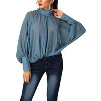 bluz pleat şifon toptan satış-Kadınlar yüksek kalite katı renk pileli yarım yüksek yaka gevşek OL bluz bayanlar yarasa kollu şifon küçük gömlek