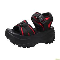 yüksek topuk ayakkabıları siyah yaz toptan satış-Siyah Sandalet Platformu Kadın 2019 Bayanlar Rahat Ayakkabılar Kama Yüksek Tıknaz Topuk Sandalet Yaz Ayakkabı Yüksek Üst Ayak Bileği 40