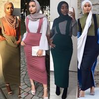 falda mujer monos al por mayor-Cinturón vestido de la falda Trajes musulmanes Bottoms largo faldas de tubo partido Ramadán falda de las mujeres de moda SK9018 Culto Servicio Ropa islámica