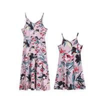 Wholesale dress for women daughter for sale - Group buy 2 T Boho Beach Mommy and Me Family Matching Flower Dress Mother Daughter Dress Summer Sleeveless Floral Sundress for Kid Women