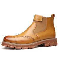 Wholesale thick sole round toe boots for sale - Group buy Bullock Carved Thick Sole Genuine Leather Shoes Men Winter Boots Men Ankle Boots Man British Leather Black Booties Mens Snowboots