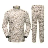 Wholesale combat uniform tactical online - Army Outdoors climbing Uniform Color Camouflage Tactical Men Clothes Special Forces Combat Shirt Soldier Training Clothes Set