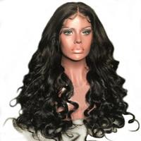волосы черные большие волны оптовых-Подгонянные парики человеческих волос 10A для чернокожих женщин Brazilain перуанский большой объемной волны полный парики шнурка и парики фронта шнурка