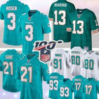 golfinhos venda por atacado-13 Dan Marino Miami 3 Josh Rosen Dolphin Jersey 21 Frank Gore 80 Danny Amendola 91 Cameron Wake Football Jerseys