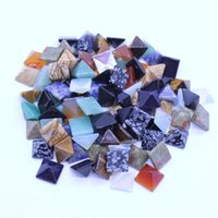 Wholesale pyramid jewelry for sale - Group buy mm Mixed Natural stone pyramid CAB CABOCHON mulit coloe gem stone beads no hole Jewelry