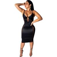 Wholesale mini lace dress transparent resale online - Lace Crochet Mesh Transparent Sexy Dress Deep V Neck Satin Bodycon Lace Dress Women Sexy Sleeveless Dress Elegant Midi Night Party Dresses
