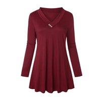 uzun sırt gevşek bluzlar toptan satış-Gevşek Düğme Uzun Kollu V Boyun Bluz Büyük Boy kadın Gömlek Katı Geri Kadın Yaz Bluz Kadın Dibe Gömlek