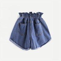 ingrosso bottoni per jeans blu-Pantaloncini di jeans strappati con elastico in vita 2019 Pantaloncini di streetwear da donna di moda blu per le donne di tendenza Posh a vita alta