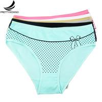 bikini grande damas al por mayor-Prettywowgo ropa interior de mujer tamaño grande calzoncillos de algodón para mujer bragas respirables cintura media íntimos más tamaño XXL XXXL 4XL 9162