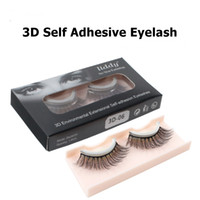Wholesale fake lashes glue resale online - Reusable Self adhesive False Eyelashes Fake d Mink Eyelashes Natural Curly Thick No glue Faux Mink Lashes Makeup Eyelash Extension