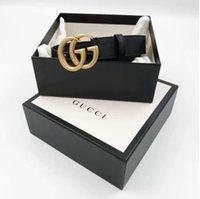 Wholesale pc gifts resale online - 2019 Hot Selling New Men And Women Gold Button Black Belt True Leather Business Belt Gift Box L18