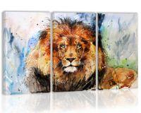 décor de chambre de lion achat en gros de-Aquarelle Lion Mur décor Art peinture sur toile Cuisine Prints Photos pour la maison Salon Salle à manger