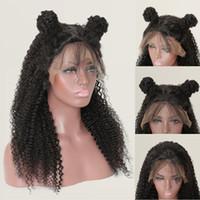 brazilian bakire afro kıvırcık peruk toptan satış-Ekonomik Afro Kinky Kıvırcık İnsan Saç Peruk Brezilyalı Bakire Afro Kinky Kıvırcık Kısa Saç Peruk 10-26 inç 13x6 Dantel Frontal Peruk Toptan Anlaşma