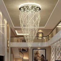 ingrosso la luce moderna ha condotto le luci di cristallo-DHL K9 Lampadari di cristallo Moderna moda artistica Lampadario a spirale Illuminazione Soffitto Soggiorno Sala da pranzo LED Hanging Chandelier